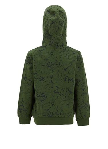 DeFacto Erkek Çocuk Sıçratma Desenli Kapüşonlu Sweatshirt Yeşil